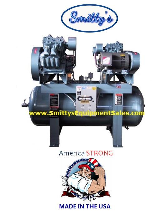 Saylor-Beall Duplex Compressor X-92024 has 240 Gallon Tank - Made In The USA
