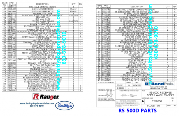 Ranger RS-500D and RS-750 Parts List